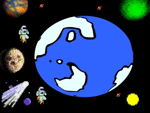 This is space (Created by : Nicole Anderson on Kid pix)