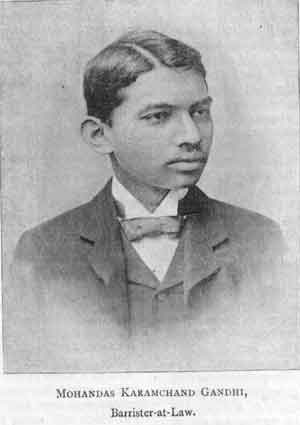 Gandhi in London, at the age of 18, working as a Barrister<br>(http://thinkorthwim.com/wp-content/uploads/2007/01/gandhi-1891.jpg)