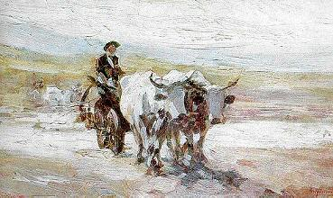 The cart with oxen