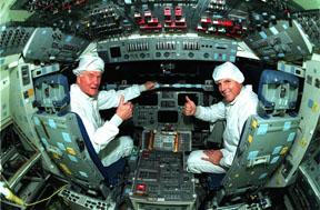 Sen. Glenn in orbiter Columbia, 1998<br> (NASA Kennedy Space Center)