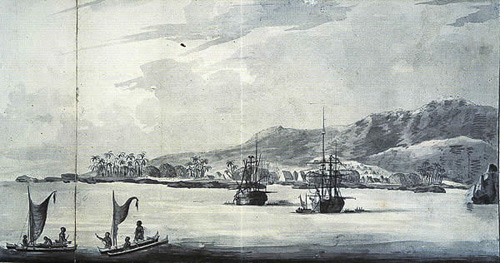 Drawing of explorers on Kealakekua Bay, 1779 (The National Archives Learning Curve (UK) <www.learningcurve.gov.uk>)