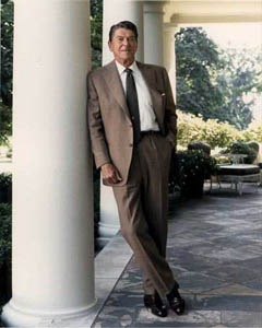 <p align=center>President Reagan posing outside of the White House  (Courtesy Ronald Reagan Library)</p>