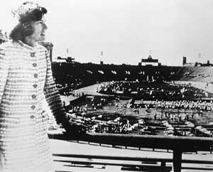 Mrs. Shriver at Special Olympics Games 1968 <br> (Courtesy of Special Olympics)