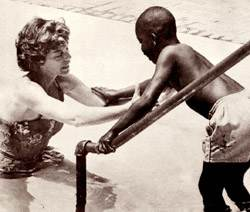 Mrs. Shriver teaches swimming at Camp Shriver. <br>(Courtesy of Special Olympics)