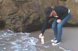 A student collects a sample of water to test. (myhero.com)