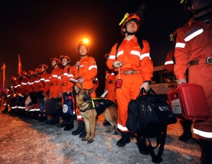 Members of the China International Search and Rescue Team (https://www.csmonitor.com/)
