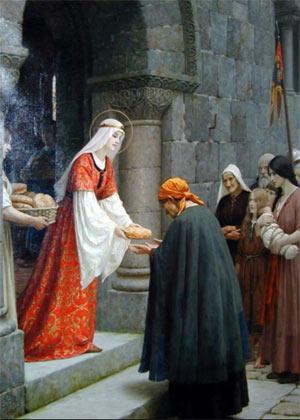 St. Elizabeth feeding the poor (http://www.itmonline.org/bodytheology/images/steliz1.jpg)