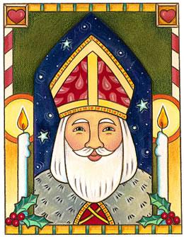 He is Santa (http://www.catholicgreetings.org/card_images/592.jpg)