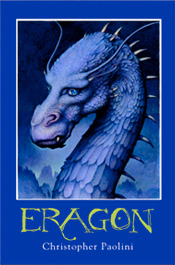 First book, Eragon (I got this picture from Paolini's web-site: http://www.alagaesia.com/)