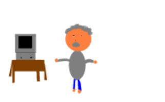 A picture of Mr.Belsey with a computer. (I made it with paint.)
