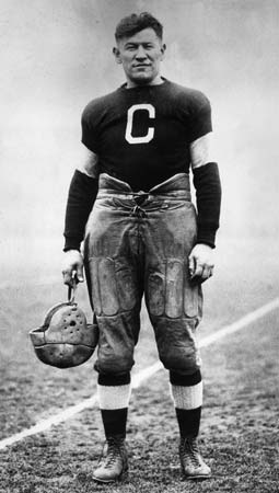 Jim in his football uniform