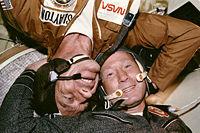 Aleksei Leonov (right) with astronaut Donald K.