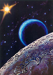 Leonov's painting, Near the Moon (1967) (http://en.wikipedia.org/wiki/Aleksei_Leonov)