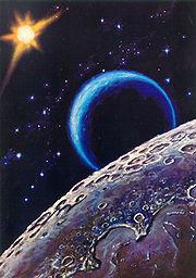 Leonov's painting, Near the Moon (1967) (http://en.wikipedia.org/wiki/Aleksei_Leonov)