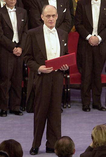 Prize in hand (Nobel)