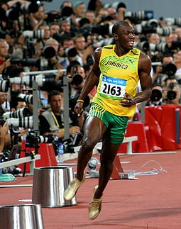 Bolt after the 100 m final at the 2008 Olympics (https://en.wikipedia.org)