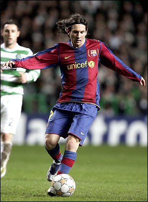 Messi playing for FC Barcelona against Celtic