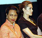 Angelina Jolie and Condoleezza Rice at World Refugee Day<br> (http://en.wikipedia.org/wiki/Angelina_Jolie#Children)