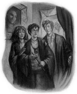 Hermione, Harry and Ron - Illustrations by Mary GrandPre<br>(http://www.hp-lexicon.org/images/chapters/dh/dh.tailpiece--thatll-be-the-end-of-that.jpg)