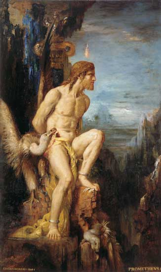 Prometheus chained to the ancient mountain. (http://www.illusionsgallery.com/Prometheus-L.jpg)