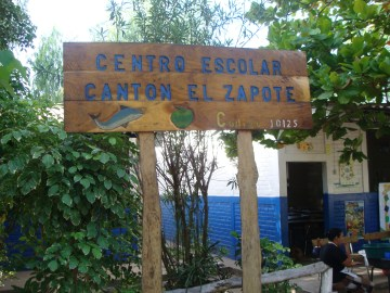 El Zapote School sign made by students in carpentry class