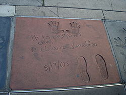 The handprints of Adam Sandler in front of Grauma (Wikipedia)