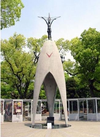 Sadako's statue portrays her holding a crane (http://www.squidoo.com/sadako-sasaki)