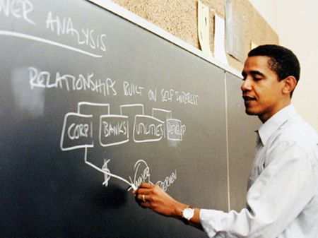 Barack Obama teaching at the University of Chicago Law School <br>(http://obama.3cdn.net/e619093b4144ddc74e_fum6bhivu.jpg)
