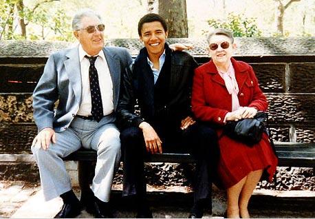 Barack Obama with his grandparents