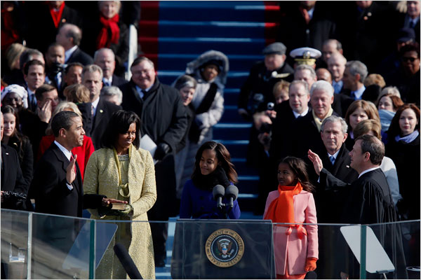 Obama being sworn in