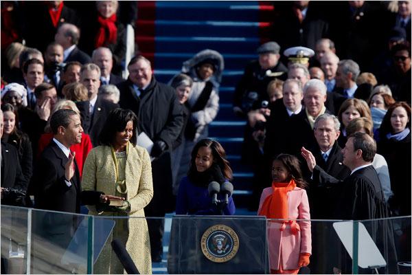Obama being sworn in