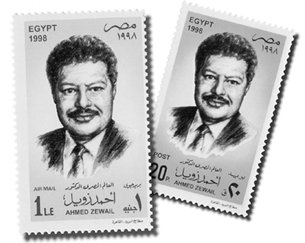 A postal stamp with the picture of Zewail on it. (http://www.facebook.com/pages/Ahmed-zewail)
