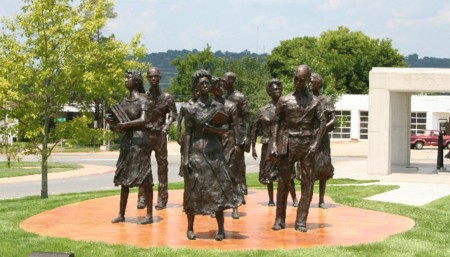 Little Rock Nine Memorial.  A testament to their courage