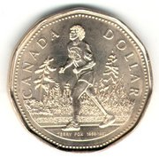 Special Edition Canadian Loonie honoring Terry Fox<br> (http://www.nationmaster.com/wikimir/images<br>/upload.wikimedia.org/wikipedia/en>br>/thumb/0/0e/<br>FoxLoonie.jpg/180px-FoxLoonie.jpg)