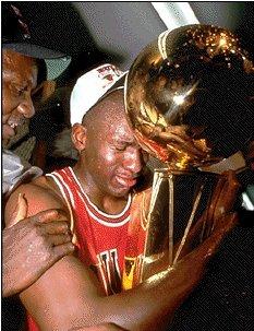 Michael Jordan With Championship Trophy Mbadiversity