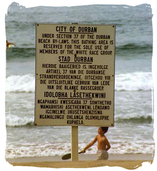 Apartheid Sign in Durban, South Africa (http://www.south-africa-tours-and-travel.com/history-of-south-africa.html)