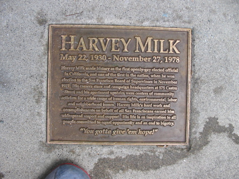 A memorial to Harvey Milk. (http://www.sanfranciscosentinel.com/?p=2251)