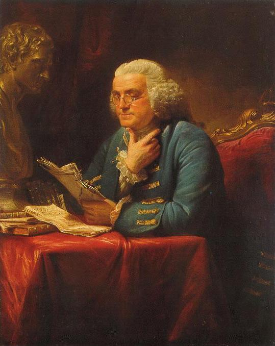 Benjamin Franklin ponders about a solution. (https://farm4.static.flickr.com/3141/2554301131_9538332400.jpg)