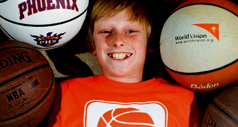 Austin Gutwein with basketballs