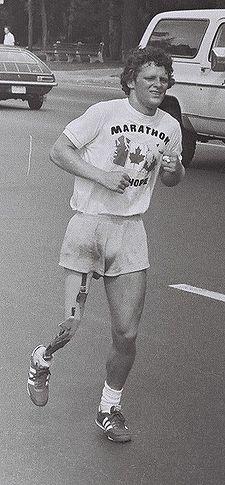 Terry running through city