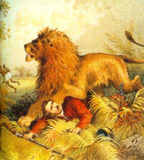 A painting of the time a lion attacked Livingston (http://www.hpgabarone.co.za/images/lion.jpg)