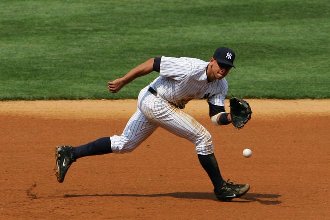 Alex Rodriguez fielding a ground ball at third ba (Sun-Times Media)