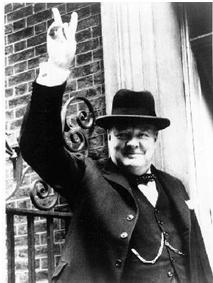This is Churchill after a victory against Germany.