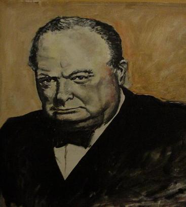 This is a portrait of Winston Churchill. (created by Bill Minihan)