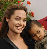 Angelina and her adopted son Maddox