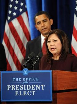 Solís habla como miembra del gabinete de Obama (The Field, Al Giordano)