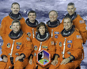 Ellen Ochoa with her crew for the mission STS-110 (NASA)