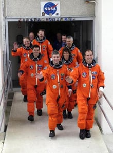 Ellen Ochoa and her crew returning from a mission (NASA)