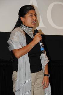 Erica Fernandez speaks at the 2011 MY HERO International Film Festival
