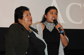 Erica Fernandez gives a passionate speech alongside her mom at the 2011 MY HERO International Film Festival